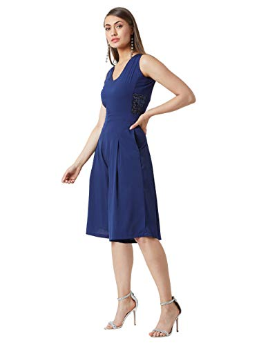 Miss Chase Women's Navy Blue Solid Knee-Length Jumpsuit(MCAW19D14-22-71-04,Navy Blue,Medium)