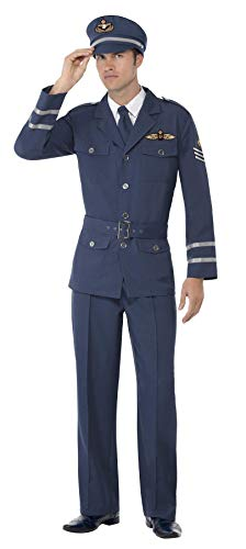 Smiffys Costume capitano dell Aeronautica WW2 con pantaloni, giacca, cappello e cravatta, Modelli Colori Assortiti, 1 Pezzo