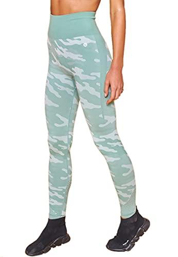 Red Cheri Leggings para mujer - Pantalones de yoga con tela de camuflaje estampada militar Control de barriga Medias de running de gimnasio de tecnología sin costuras de cintura alta M VERDE
