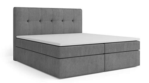 Mos 00036 Holly BOXSPRINGBETT Continental Bett Stoff Kunstleder GRAU