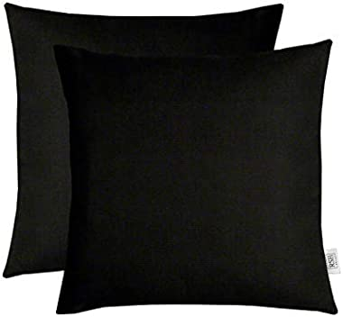 """RSH Décor Set of 2 Indoor Outdoor Decorative Square Throw Pillows Made of Sunbrella Canvas Black (20"""" x 20"""")"""
