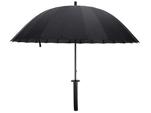 Schwert Regenschirm Katana im klassischen Rundspeichen Design, Schwarz