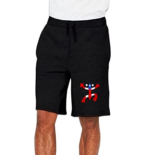 Puerto Rico Pr Flag Men's Active Sports Shorts Athletic Performance Jogger Running Sweatpants with Elastic Waist & Pockets XL Black