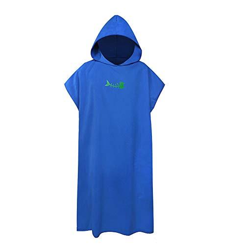 Toalla cambiadora de baño para adultos y niños, toalla cambiadora con capucha, para mujeres, hombres, surf, natación, neopreno, tamaño grande compacto y ligero, color azul zafiro