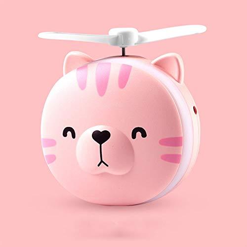 Handheld Fan, kan worden gevouwen met LED-licht make-up spiegel en USB oplaadbare Socket Low Noise Geschikt voor slaapkamer woonkamer en Party,Kitten pink