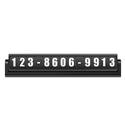 ZHANYI Plaques de numéro de téléphone déplacer Les Voitures Carte de stationnement Sucker pâte Lumineux numéros créatifs affichés Panneau d'arrêt temporaire (Couleur : Noir)