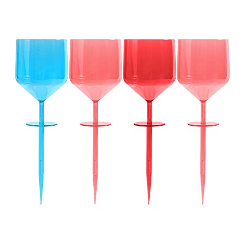 wine cup for beaches WintMing 4 pcs Beach Glasses Floating Colorful Wine Glass Acrylic Break-Resistent Seamless Outdoor Cocktail Drinkware for Pool Beach