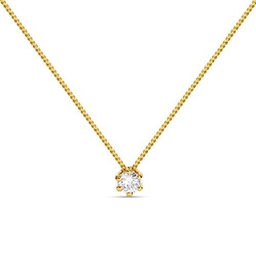 Miore Collana Donna, Catenina con solitario Punto Luce con Diamante taglio Brillante Ct. 0.10 in Oro...
