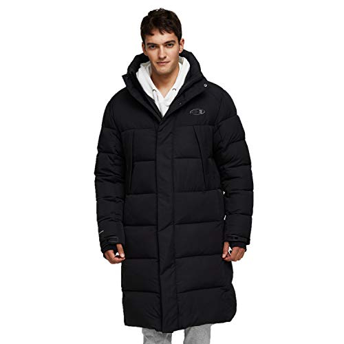 TIGER FORCE Winter Active Coat Long Puffy Jacket for Men Hoodie Thickened Padded Outerwear Snowjacket Extremely Cold