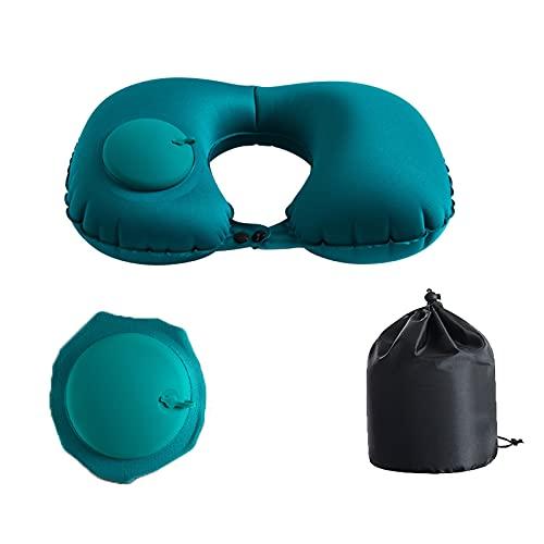 HRTX Prensa de inflado de Almohadas en Forma de U, Almohadas portátiles de Viaje Almohadas pequeñas y cómodas Almohadas de Cuello para Acampar, Siestas de Oficina, Aviones, Coches, Trenes y autobuses