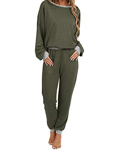 Womens Sweatsuits 2 Piece Outfits Long Sleeve Hooded Pullovers Drawstring Sweatpants Loungewear Set with Pockets (3 army green, Large, l)