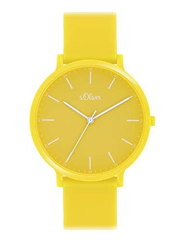 s.Oliver Unisex Analog Quarz Uhr mit Silicone Armband SO-4064-PQ