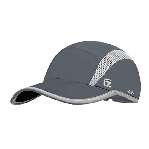 GADIEMENSS Quick Dry Sports Hat Lightweight Breathable Soft Outdoor Running Cap (Folding series, Dark Grey)