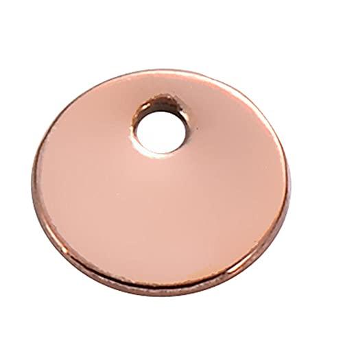 WANM Colgante Charms 50Pcs Encantos Redondos En Blanco De Acero Inoxidable para La Fabricación De Joyas Durante El Collar 6 Mm 8 Mm 10 Mm