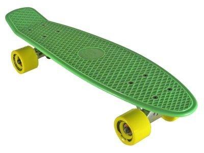 Oldschool Skateboard Plastic Cruiser 70s Style Green/Yellow Plastik Skateboard - Vinyl Skateboard Cruiser Longboard