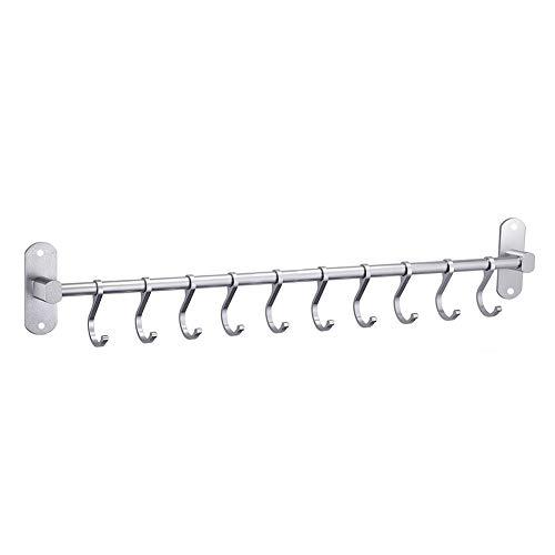YunNasi Colgador de Utensilios de Cocina Aluminio Barra para Cocina con 10 Ganchos y 2 Tornillos para Baño Bar Dormitorio Armario