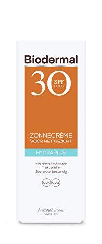 Biodermal Zonnebrand - Hydraplus Face SPF30 - Zonnebrandcreme gezicht -  Onmiddellijke bescherming, trekt snel in en is niet vet of plakkerig - 50ml