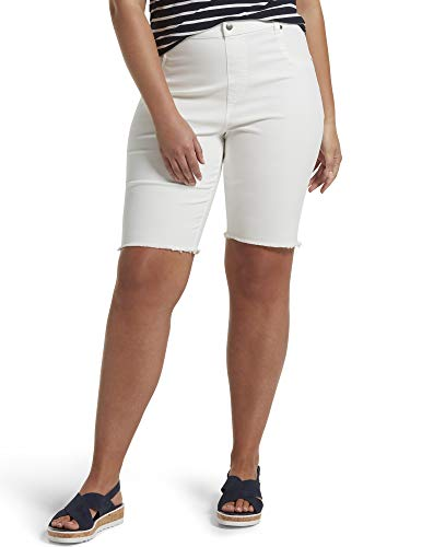 HUE Women's Ultra Soft Denim High Waist Bermuda Shorts, White, Large