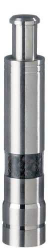 Fletchers' Mill Stainless-Steel Pump and Grind Pepper Mill, STS06PM01, Modern Thumb Button Grinder, One-Handed Operation, Perfect For Restaurant Staff
