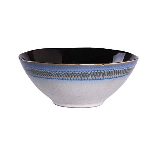 DJY-JY Bol de cerámica pintado a mano, plato de ensalada familiar, plato único para cereales y pasta, plato para salsa, color azul, 18,5 x 7,5 cm