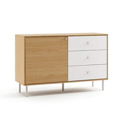 Mc Haus UMMA - Aparador Comedor de Madera Blanco, Mueble Cómoda de almacenaje, Buffet Salon Armario de diseño con 1 puerta y 3 cajones 118x40x76cm