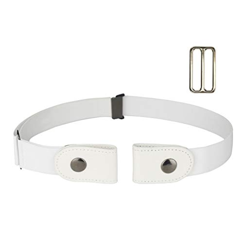 No Buckle Stretch Belt for Women/Men Invisible Elastic Buckle Free Belts White