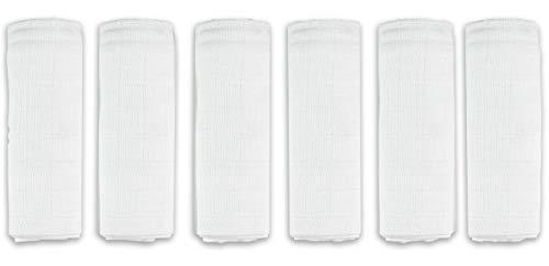 Paños de gasa, 6 unidades, 80 x 80 cm, fabricados en la UE, con doble tejido, sin sustancias nocivas, para niños y niñas, paños de gasa para bebés, color blanco, lavable a 95 °C