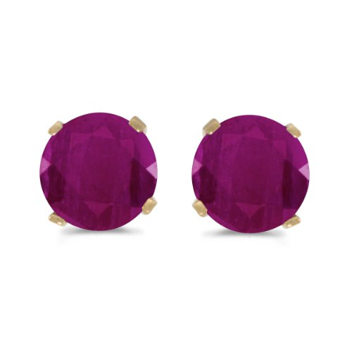 1 Carat Total Weight Natural Round Ruby Stud Earrings Set in 14k Yellow Gold