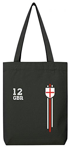 Great Britain Soccer World Cup Fussball WM Fanfest Gruppen Premium Bio Baumwoll Tote Bag Jutebeutel Stanley Stella Streifen Trikot England, Größe: onesize,Black