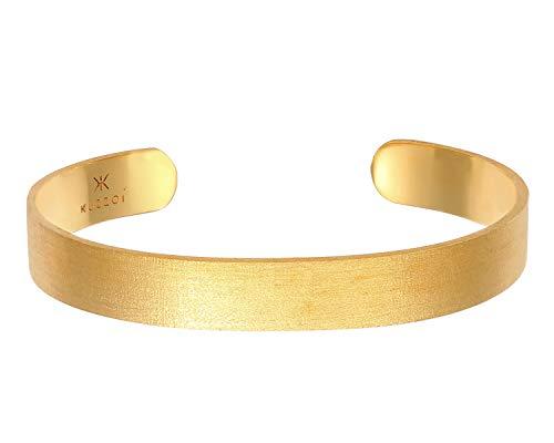 Kuzzoi Buddha Herren Silber Armreif offen, handgefertigt aus echten massiven 925 Sterling Silber mattiert, Basic Armband für Männer vergoldet, 10 mm breit, 25g schwer