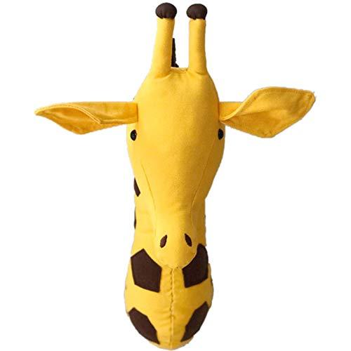 Luntus 3D Animal Head Wall Cute Stuffed Wall Hanging Toys Kids Room Animal Wall Sculptures-Giraffe