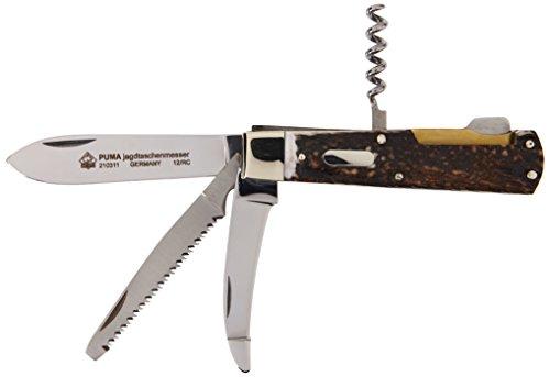 PUMA Jagd-Taschenmesser,4 Klingen, 1.4110 Hirschhorn,Neusilberbacken