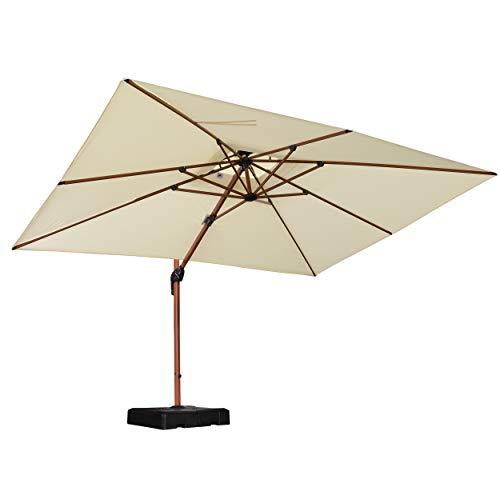 PURPLE LEAF Luxus Rechteck 270 x 365 cm Sonnenschirm Gartenschirm Kurbelschirm Ampelschirm Terrassenschirm, Holzoptik Mast, Crème