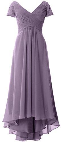MACloth Women Cap Sleeve V Neck Hi Lo Mother of Bride Groom Dresses Evening Gown (US14, Wisteria)