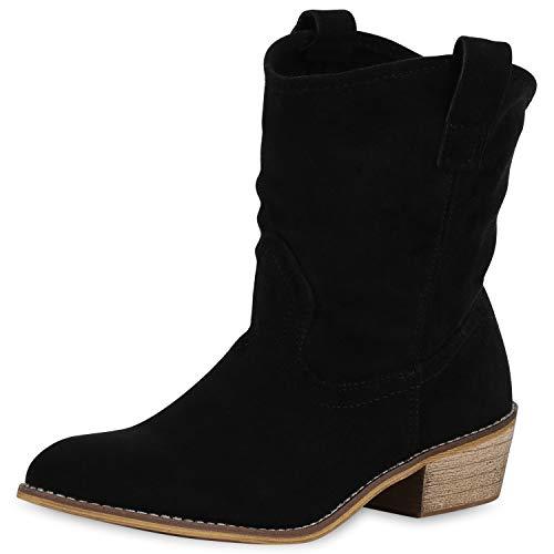 SCARPE VITA Damen Stiefeletten Cowboy Boots Western Schuhe Wildleder-Optik Westernstiefel Holzoptik Cowboystiefel 175756 Schwarz Total 36