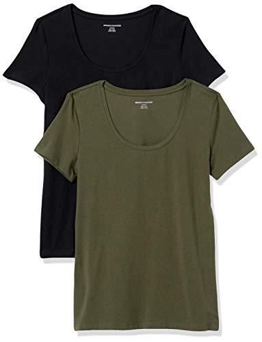 Amazon Essentials Paquete de 2 Camisetas de Manga Corta con Cuello Redondo. Fashion-t-Shirts, Verde Oliva/Negro, 42-44, Pack de 2