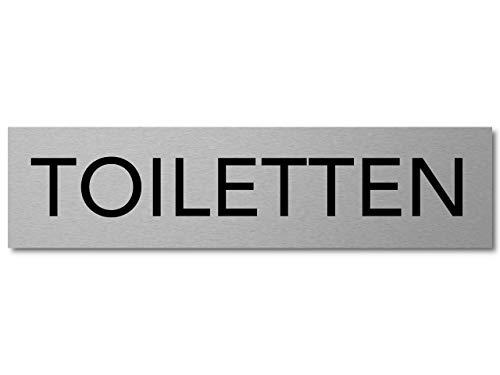 Interluxe Türschild Toiletten Schild aus Aluminium, 200x50x3mm, robust selbstklebend und wiederablösbar, modern für WC, Wegweiser für Firma, Hotel, Restaurant, Gaststätte