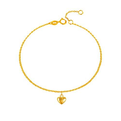 KnBob 18K Gelbgold 750 Fußkette für Mädchen Herz Form Fuß Kette 24CM