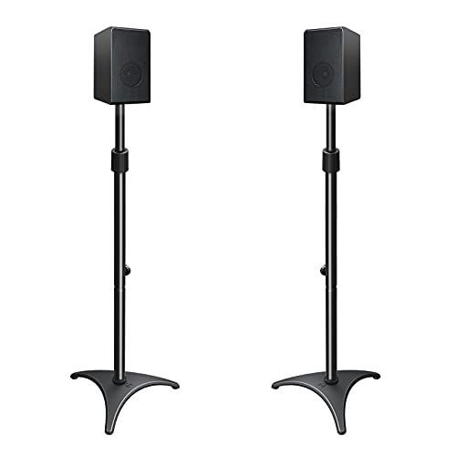 """Mounting Dream Height Adjustable Speaker Stands Mounts, One Pair Floor Stands, Heavy Duty Base Extendable Tube, 11 lbs Capacity Per Stand, 35.5-48"""" Height Adjustment MD5401 (Speakers Not Included)"""