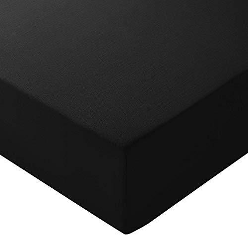 Amazon Basics Spannbetttuch, Mikrofaser, Schwarz, 140x200x30cm