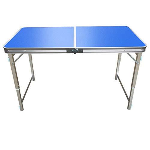 VA-DESK Table de Salle à Manger en Aluminium Pliable légère pour Camping avec Parasol Trou Extra Force Portable Intérieur Extérieur 60 * 120 * 70cm Bleu