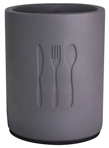 Nala Utensil Crock Concrete Flatware Caddy Kitchen Utensil Holder Organizer Jar For Table Pantry Countertop Storage Container for Kitchen Spoons Fork Tableware Desk Organizer - 4.4 x 5.4 Inches