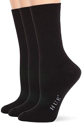 HUE Women s Relaxed Top Crew Socks 3 Pair Pack Black one size product image