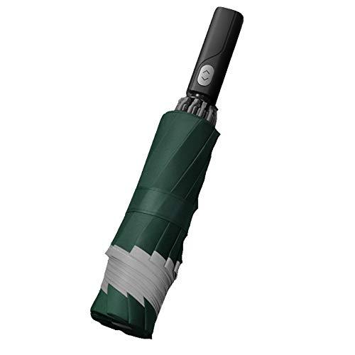 Paraguas de Golf Abierto automático, Paraguas de Varilla Impermeable a Prueba de Viento de Gran tamaño Extra Grande, Paraguas Plegable de Viaje Compacto,Verde