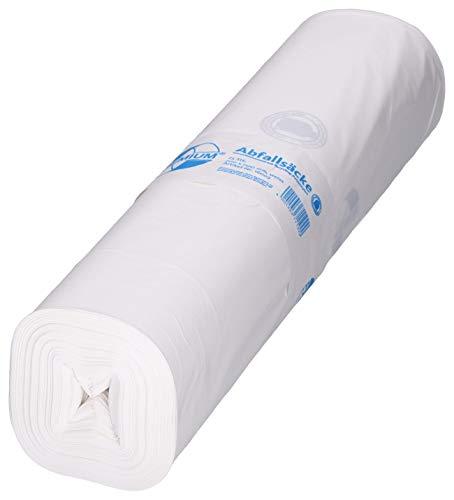 DEISS PREMIUM Fabricado en LDPE reciclado de 120 l, color blanco, 25 unidades por rollo.