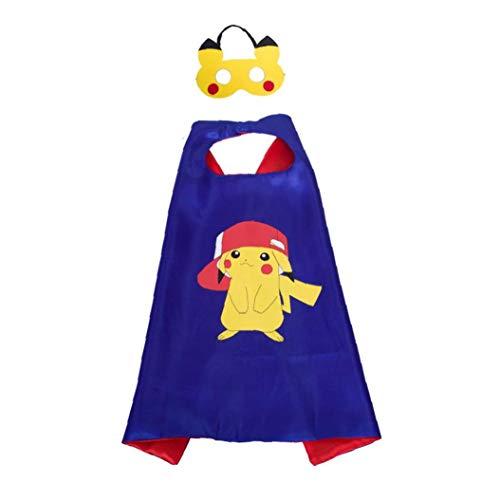 Pikachu Costume Cape Face-Set pour les enfants couverture enfants Pokemon Themed Birthday Party Decoration Dress Up Cosplay cadeaux Favor décoration de vacances
