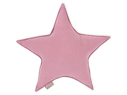 KraftKids Sternkissen Musselin rosa, 45 cm großes Kuschelkissen, Deko-Kissen für das Kinder-Zimmer