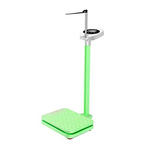 ZJZ Báscula de Altura y Peso, báscula de Columna Digital, báscula electrónica de medición de Alta precisión, con Poste de Altura y Pantalla LED, 180 kg