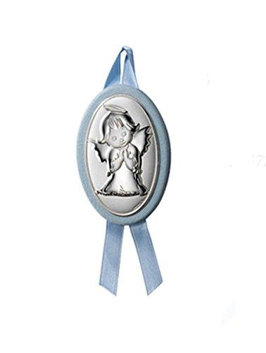 Medalla de cuna ó cochecito con Angelito en Plata bilaminada, disponible en colores Rosa y azul, a su elección.