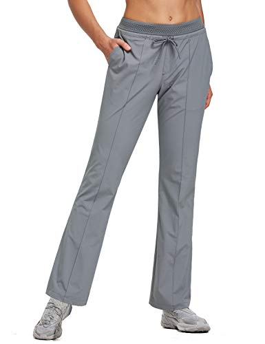 BALEAF Women's 30 Inches Bootcut Hiking Pants Quick Dry Lightweight Stretch Pants UPF 50+ Water Resistant Dark Grey Size S